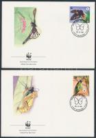 Queen Alexandra butterflies set on 4 FDC, Alexandra királyné pillangó sor 4 FDC