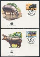 WWF hippopotamus set 4 FDC, WWF Vízilovak sor 4 FDC-n