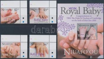 Royal Baby - The little crown prince set + block, Royal Baby - A kis trónörökös ívsarki sor + blokk