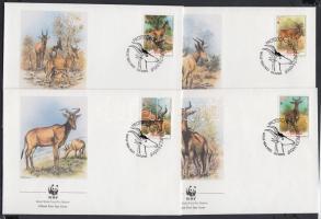 1991 WWF Antilop sor 4 FDC-n Mi 1231-1234