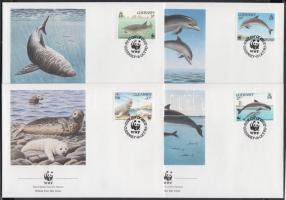 1990 WWF Tengeri állatok sor 4 FDC-n Mi 497-500