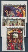1971 Karácsony: festmények vágott sor (közte ívszéli bélyeg) Mi 312-314