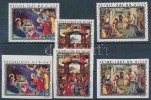 1971 Karácsony: festmények fogazott + vágott sor (közte egy ívszéli vágott bélyeg) Mi 312-314