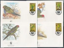 1987 WWF Papagájok sor 4 FDC-n Mi 421-424