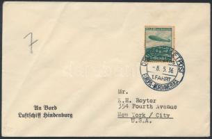 1936 Az LZ 129 Hindenburg légihajó 1. észak-amerikai útja levél New Yorkba fedélzeti bélyegzéssel