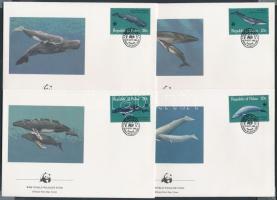 WWF Whales set in block of 4 + set on 4 FDC, WWF Bálnák négyestömb + ugyanaz a sor 4 FDC-n