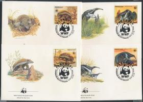 WWF anteaters stamps from one set on 4 FDC, WWF Hangyászok bélyegek egy sorból 4 FDC-n
