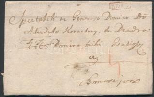 1787 Portós levél / Cover with postage due, piros / red ARAD - Szamosújvár