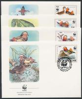 WWF Mandarin duck set on 4 FDC, WWF Mandarin kacsa sor 4 FDC-n