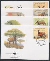 1986 WWF állatok sor 4 FDC-n Mi 1078-1081
