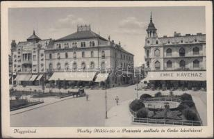 Nagyvárad, Horthy Miklós tér, Pannónia szálloda, Emke kávéház / square, hotel, cafe (EK)