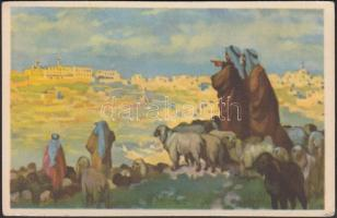 Betlehemi pásztorok / Shepherds of Betlehem; art postcard s: Hollós Endre