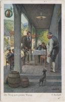 Im Krug zum grünen Kranze / at the pub, Serie 375. Nr. 5221. s: Herrfurth, A kocsmában, Serie 375. Nr. 5221. s: Herrfurth