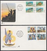 1985 Halak + Cserkészek 2 sor Mi 70-73 + 75-78 2 FDC