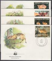 1985 WWF Zebra-bóbitásantilop sor Mi 881-884 4 FDC