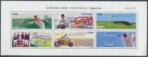 2004 ESPANA04 Bélyegkiállítás, sport blokk Mi 141