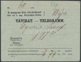 1874 Távirat boríték / Telegramm couvert M.K. TÁVIRDAI ÁLLOMÁS ZSOLNA