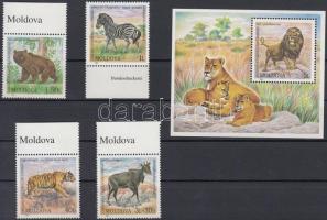 2001 Állatkert ívszéli sor Mi 397-400 + blokk Mi 24