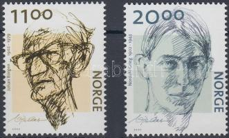 2002 100 éve született Johann Borgen és Nordahl Grieg sor Mi 1438-1439