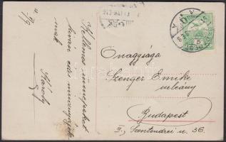 1913 1 sorral magasabbra fogazott 5f Turul bélyeg képeslapon