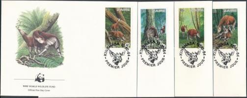 1984 WWF okapi sor Mi 875 - 878 4 FDC