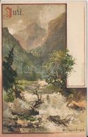 Juli / July, landscape, M. Seeger Monatsgrüsse Serie II. litho s: Euggenberger, Júliusi látkép, hegyek, M. Seeger Monatsgrüsse Serie II. litho s: Euggenberger