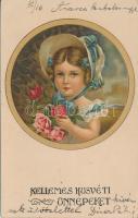 Easter, little girl litho