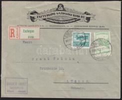 1933 Ajánlott levél Svájcba 1927 Repülő 1P + 1933 Repülő 10f bérmentesítéssel / Airmail cover to Switzerland