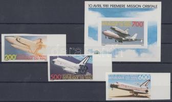 1981 Kolumbia űrhajó ívszéli vágott sor Mi 872-874 + vágott blokk Mi 18
