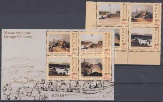 1994 George Chinnery festmények ívsarki négyestömb Mi 748-751 + blokk Mi 25