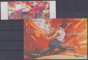 1997 Sárkány fesztivál ívszéli hármascsík Mi 913-915 + blokk Mi 45