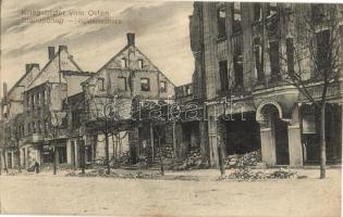 Nesterov, Stallupönen; Goldaperstrasse / street, destroyed houses, war photo