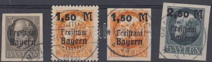 1919 III. Lajos király 4 klf bélyeg felülnyomással Mi 152B, 175A-B, 176B