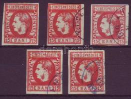 1869 Mi 23 lemezhibák, lemezjavítások 5 db bélyeg / Plattenfehler, Retouche, 5 Marken