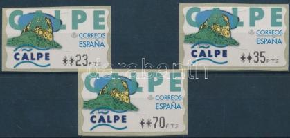 1999 Calpe 3 db öntapadós automata bélyeg Mi 27 3 klf névértékben (23PTS / 35PTS / 70PTS)