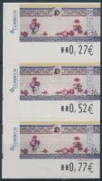 2005 Mi 155 öntapadós automata bélyeg hármascsíkban 3 klf névértékben (0,27EUR /0,52EUR /0,77EUR)