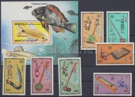 1986 Hangszerek sor Mi 1798-1804 + 1987 Halak blokk 118