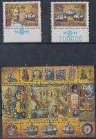 Europe CEPT 500th anniversary of America's discovery margin set (2534 short perfs) + block, Europa CEPT 500 éve fedezték fel Amerikát ívszéli sor (2534 rövid fogak) + blokk