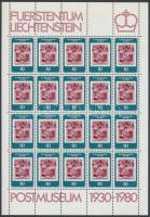 50th anniversary of Vaduz postal museum minisheet, 50 éves a vaduzi postamúzeum kisív