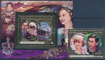 Prince Charles and Diana Spencer's wedding embossed gold-foiled stamp + block, Károly herceg és Diana Spencer esküvője dombornyomott, aranyfóliás bélyeg + blokk