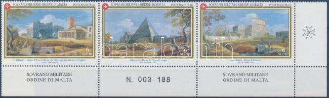 Antique views corner stripe of 3, Antik látképek ívsarki hármascsík