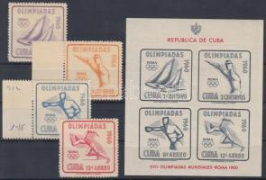 1960 Nyári olimpia sor Mi 669-672 + vágott blokk 18
