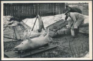 cca 1960 Hagyományos disznóvágás, 9x14 cm