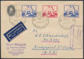 1951 Légi levél az USA-ba / Airmail cover to USA