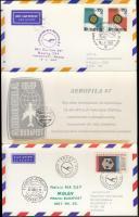 1967 Lufthansa-MALÉV Frankfurt-Prága-Budapest alkalmi repülés emléklap az Aerofila bélyegkiállításra