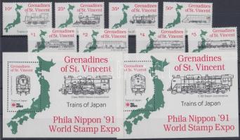 1991 PHILANIPPON nemzetközi bélyegkiállítás sor Mi 804-811 + 4 blokk Mi 75-78