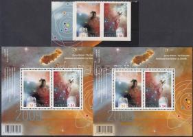 International Year of Astronomy self-adhesive set + block, Csillagászat nemzetközi éve öntapadós sor + blokk