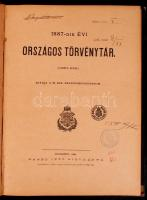 1887-dik évi országos törvénytár Bp., 1887 Igazságügy Minisztérium. Nágel Ottó Félvászon kötésben