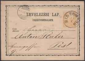1874 Díjjegyes levelezőlap / PS-card KIS ZOMBOR-BUDAPEST