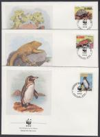 1992 WWF élővilág bélyegek egy sorból (halvány gépszínátnyomat) + ugyanazok az értékek 4 FDC-n Mi 2207-2209 + 2212